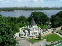 Church on coast of Dnepr. Uspenska Kiev-Pechersk Lavra stock photo