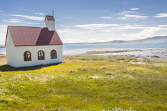 Church on coast of Isafjardardjup fjord - Iceland. Royalty Free Stock Photos
