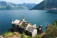 Church on the coast of Kotor bay Royalty Free Stock Photo