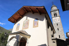 Church in Cogne. Val D'Aosta. Italy Stock Photos