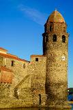 Church of Collioure in the evening Royalty Free Stock Photo