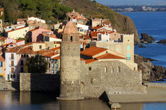 Church in Collioure village with morning sunlight Stock Image