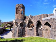 Church in Colonia Guell. Unfinished Gaudi Church in Colonia Guell, Catalonia, Spain Royalty Free Stock Photography