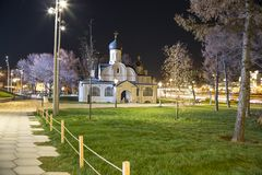 Church of the conception of St Anne at Night-- view from modern park Zaryadye in Moscow, Russia. Stock Photo