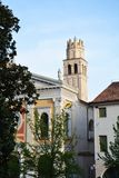 Church in Conegliano and tower, Italy Stock Photos