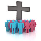 Church congregation. Group of the people standing at a christian cross Stock Images