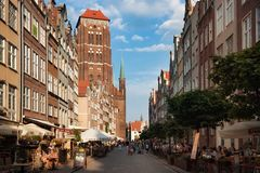 GDANSK, POLAND - JUNE 07, 2014: View of the St Mary`s Church from Piwna street. The Church construction began in 1379. Is currently one of the two or three Royalty Free Stock Photo