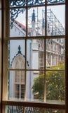 Church Construction Through Window Stock Photo