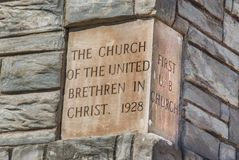 Church Cornerstone Date Stone Tulsa Oklahoma The Church Studio Brethren. The. historic corner stone from The Church of the United Brethren in Christ, also known royalty free stock photo
