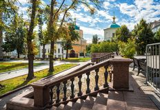 The Church of Cosmas and Damian in Stoleshnikov Lane of Moscow Stock Image