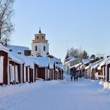 Church cottages in Gammelstad in Gammelstad Church Town Stock Image