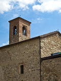 Church in the country. On the hill. Blue sky and clouds on background Royalty Free Stock Photos