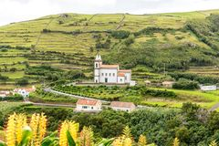 Countryside near Santa Cruz on the island of Flores in the Azores, Portugal Stock Photo