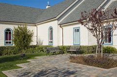 Church Courtyard. From a Church in Half Moon Bay stock photo