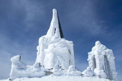 Church covered with ice in Kaimaktsalan mountain in Greece Royalty Free Stock Photo