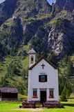 Church of Crampiolo Alpe Devero. The Alpe Devero belongs to a natural park situated in Lepontine Alps is the northern Ossola Valley Royalty Free Stock Image