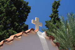 Church in Crete. The roof of the church in the centre of Roussa Eklissia on the Greek island of Crete royalty free stock photos