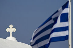 Church Cros and Greek Flag Royalty Free Stock Image