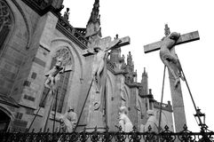 Church and Cross. In Xanten, Germany royalty free stock photography