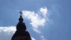 Church Cross Towards Sky Time Lapse stock video