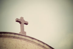 Church cross in vintage tone Royalty Free Stock Photo