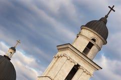 Church crosses on dark skies b stock photos