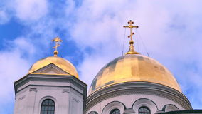Church with crosses on domes stock video footage