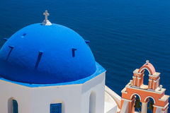 Church Cupola and Tower Bell from Santorini Royalty Free Stock Image