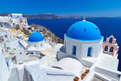 Church Cupolas of Oia town on Santorini island. Greece Stock Image