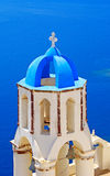 Church Cupolas and the Tower Bell. From Santorini, Greece Royalty Free Stock Photos