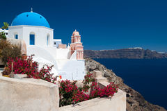 Church Cupolas and the Tower Bell from Santorini Stock Photos