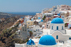 Church Cupolas and the Tower Bell from Santorini Royalty Free Stock Image