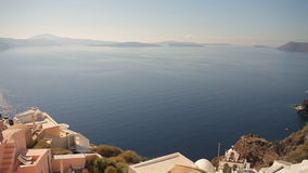 Church Cupolas and the Tower Bell from Santorini, Greece. Nature in Greece, Santorini island stock video footage