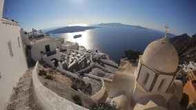 Church Cupolas and the Tower Bell from Santorini, Greece stock video