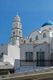 Church in Cyclades Islands, Santorini, Thira, Pirgou Kallistis, Venetian Castle Stock Photography