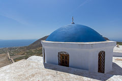 Church in Cyclades Islands, Santorini, Thira, Pirgou Kallistis, Venetian Castle Royalty Free Stock Image