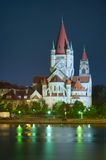 Church and Danube river in Vienna Royalty Free Stock Image