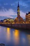 Church at dawn in Hamburg Royalty Free Stock Image