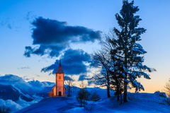 Church at dawn in winter Royalty Free Stock Photos