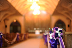 Church decorated for a wedding. An image of a church decorated for a wedding ceremony stock image