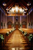 Church decorated for a wedding. An image of a church decorated for a wedding ceremony stock photo