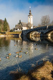 Church. The church dedicated to John the Baptist in Ribcev Laz on the Bohinj Lake, in Slovenia Stock Images