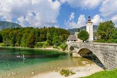 The church dedicated to John the Baptist in Ribcev Laz on the Bohinj Lake. Slovenia Royalty Free Stock Images
