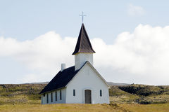 Church in deserted landscape in Iceland Royalty Free Stock Images