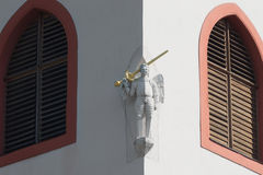 Church detail angel statue with sword, Svaty sv. Vaclav Royalty Free Stock Photos