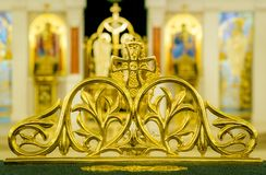 Church details with blurred icons in background Royalty Free Stock Photography
