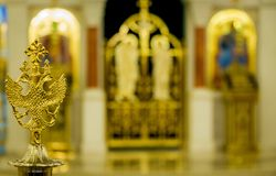 Church details with blurred icons in background Royalty Free Stock Photos
