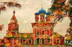 Church of Dimitry on Blood. Kremlin in Uglich. Artistic collage. Stock Photography