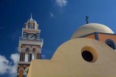 Church dome and belltower. Firostefani, Santorini, Cyclades islands. Greece Stock Photo