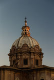 Church dome catching last light of day Royalty Free Stock Photography